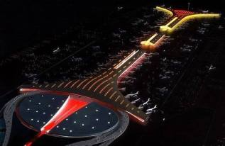 Beijing airport by night